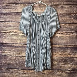 Terra Sky Striped Flared Sleeved Shirt 2X